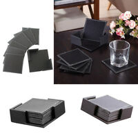 Leather Drink Coasters Set of 6Pcs Dining Cup Holders Rectangle Meeting Room