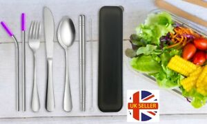 7 Piece Stainless Steel Portable Reusable Cutlery Set Outdoor Camping Travel