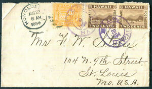 HAWAII #74 #75 Pair Hilo Hawaii Double Circle 1884 Cover to St. Louis MO
