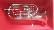 EUPHONIUM 3 VALVE MADE OF PURE BRASS IN SILVER POLISH +WOOD CASE & FREE SHIPPING