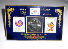 1988 Olympic Games Seoul COMMEMORATION THE '88 Olympic Stamps Table Tennis Coin2