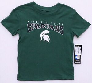 MICHIGAN STATE SPARTANS BOY'S SIZE S (4) GREEN TEE T-SHIRT SHORT SLEEVE CREW NEC