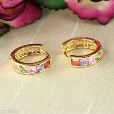 E11 18K Gold Plated Multi-coloured Crystal Huggie Hoop Earrings 14mm - Giftboxed