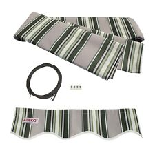 ALEKO Fabric Replacement For 13x10 Ft Retractable Awning Multistripe Green Color