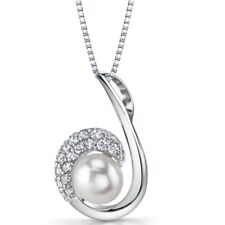 "8.0mm White Pearl Sterling Silver Pendant Necklace, 18"" chain"