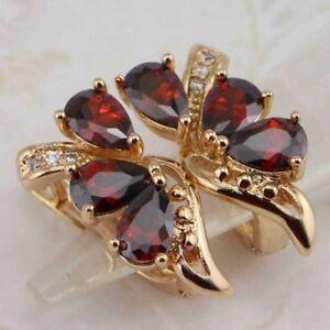 Super Nice Garnet Red Gems Jewelry Yellow Golden Filled Huggie Earrings h2914