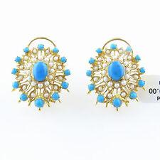 NYJEWEL 22k Gold New Amzing Indian Style Turquoise Pearl Big Earrings