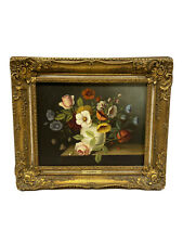 Antique Signed P. Du Bois Oil On Canvas Floral Still Life Antique Oil Painting