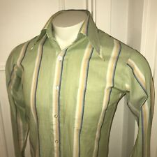 Vtg 60s 70s Green Striped VAN HEUSEN 417 Vanopress Disco Dress shirt Mens 15 33