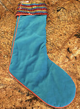 "Old Navy Plush AQUA BLUE Christmas Stocking w/ Sequins on Top 19"" Long NEW"