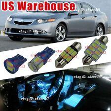 14-pc Aqua Blue Led Lights Interior Package Kit For 09-14 Acura TSX Sedan Wagon