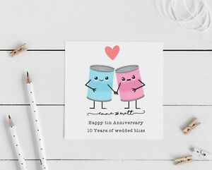 Personalised wedding anniversary card 10th tin
