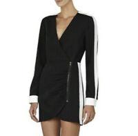 BCBG Max Azria LEYA Black & white stripe color block dress S6