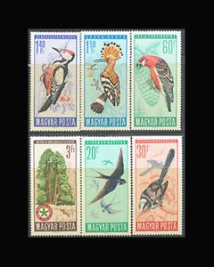Hungary, Sc #1746-51, MH, 1966, BIRDS, FAUNA, set, SDI-C