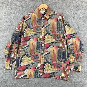 VINTAGE Mens Silk Button Up Shirt Size L Large Slim Fit Long Sleeve 299.34