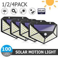 100LED Solar Power PIR Motion Sensor Wall Light Outdoor Garden Security Lamp