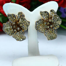 NATURAL HEATED YELLOW SAPPHIRE FLOWER EARRINGS 925 STERLING SILVER