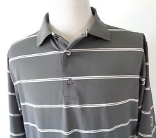 FootJoy Large Golf Polo Shirt Striped Gray White Poly Spandex Stretch *FLAW*