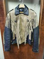 Vintage Hot Leathers Fringed Leather Motorcycle Jacket Mens Size 44 Very Rare !!