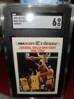 1991 NBA Hoops Tribune Jordan Bulls Win First NBA Title Basketball Card #542