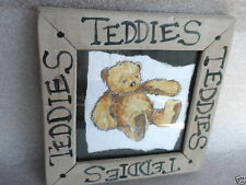 Rustic Framed Teddy Bear Folk Drawing Nursery Art Work Collector Decor 8in
