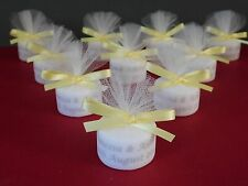 Personalised Candle Tealight Wedding Favours Lemon Ribbon & Silver Text Set 10