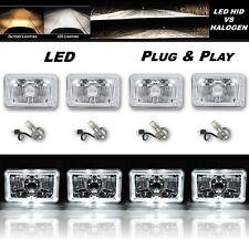"4X6"" White LED Halo Angel Eye Crystal Clear Headlight w/ 6K LED Light Bulb Set"