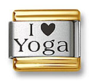 Italian Charm Bracelet Link Laser I Heart Yoga Gold Trim 9mm Stainless Steel