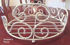 Shabby Cottage Chic Plant Magazine Holder White Rope Wrought Iron Floor Style