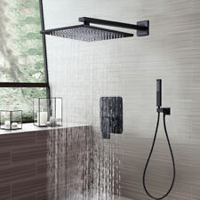 "8""Oil Rubbed Bronze Rainfall Shower Faucet Square Shower Head Tap W/Hand Shower"