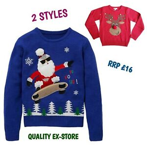 Kids Boys Novelty Funny Christmas Xmas Jumper Santa Claus Knit Sweater Blue Gift
