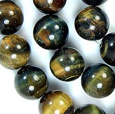 "Natural 10mm Blue Yellow Tiger Eye Round Beads 15.5"""