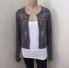 Abercrombie Womens Floral Lace Cardigan Size Small Sweater Dark Gray