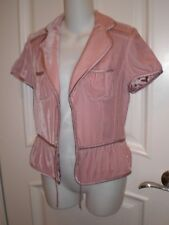 Banana Republic Silk Blend Velvet Short Sleeve Jacket Blazer~2~Nude pink