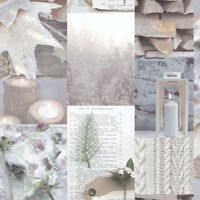 Arthouse RETREAT Natural Shabby Chic Log Candle Leaf Natural Wallpaper - 669500