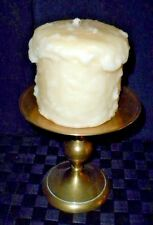 Tall Brass 6 Inch+ Pillar Candle Holder With White Vanilla Candle