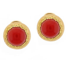 Buccellati Ox Blood Coral Gold Earrings