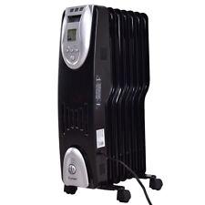 1500W Electric Oil Filled Radiator Heater Safe Digital Temperature Adjust Timer