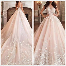 Blush/Pink Cathedral Train A Line Wedding Dress Appliques Tulle 2018 Bridal Gown