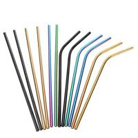 2Pcs Reusable Stainless Steel Metal Cocktail Drinking Straw Straws Cleaner Brush