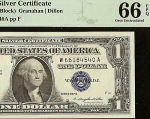 GEM 1957B $1 DOLLAR BILL SILVER CERTIFICATE BLUE SEAL NOTE PMG 66 EPQ
