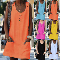 UK Womens Party Tunic Pockets Holiday Neon Tops Ladies Buttons Cami Mini Dress