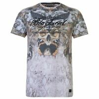Mens Firetrap Blackseal Moth Skull T Shirt Crew Neck Short Sleeve New