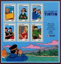 2007 FRANCE BLOC N°109** BF Les voyages de Tintin, bandes dessinées, sheet MNH