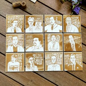 Set of 12 The Office Wood Coasters - The Office Collection - Housewarming Gift