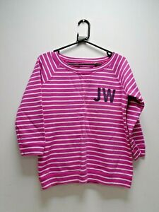 Jack Wills Pink & White Striped Sweater Jumper Ladies UK Size 12
