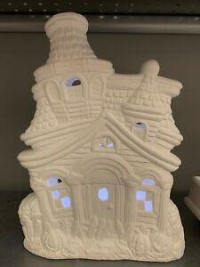 Halloween Haunted House Light Up Ceramic Bisque  Ready to Paint Pottery