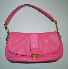 Juicy Couture Hot Pink Leather Handbag Shoulder Bag OR Clutch Gold Chain & Logo