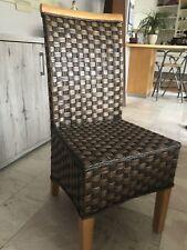Braune Rattan Esszimmerstühle, Stück 4, gebraucht