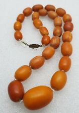 antique amber butterscotch necklace 41.4 gr graduated beads chinese EGG YOLK